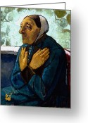 Arms Folded Greeting Cards - Old Peasant Woman Greeting Card by Paula Modersohn-Becker