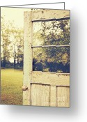 Peeling Greeting Cards - Old peeling door with landscape Greeting Card by Sandra Cunningham