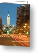 City Hall Greeting Cards - Old Philadelphia City Hall At Night Greeting Card by Travelif