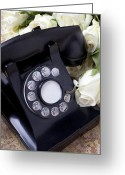 Communication Greeting Cards - Old phone and white roses Greeting Card by Garry Gay
