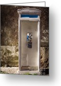Old Wall Greeting Cards - Old phonebooth Greeting Card by Carlos Caetano
