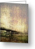 Ebb And Flow Greeting Cards - Old Photo of an Ocean Pier Greeting Card by Skip Nall