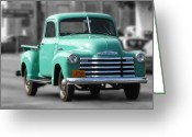 Chev Pickup Greeting Cards - Old Pickup Truck Photo Teal Chevrolet Greeting Card by Terry Fleckney