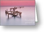 Dusk Greeting Cards - Old Pier at Swanage Greeting Card by Richard Garvey-Williams