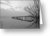 Sunset Light Greeting Cards - Old Pier Greeting Card by Joana Kruse