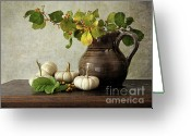Thanksgiving Greeting Cards - Old pitcher with gourds Greeting Card by Sandra Cunningham