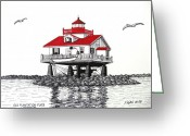Historic Lighthouse Drawings Greeting Cards - Old Plantation Flats Lighthouse Drawing Greeting Card by Frederic Kohli