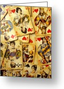 Clubs Greeting Cards - Old playing cards Greeting Card by Garry Gay