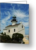 Point Loma Greeting Cards - Old Point Loma Lighthouse Greeting Card by Methune Hively