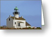 American Landmarks Greeting Cards - Old Point Loma Lighthouse San Diego California Greeting Card by Christine Till