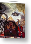 Tuba Greeting Cards - Old radio and music instruments Greeting Card by Garry Gay