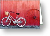 Red Barn Greeting Cards - Old Red Barn and Bicycle Greeting Card by Margaret Hood