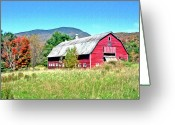 Barn Art Digital Art Greeting Cards - Old Red Barn In Vermont Greeting Card by James Steele
