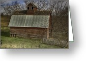 Old Country Roads Greeting Cards - Old Red Barn Greeting Card by Joenne Hartley