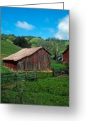 Landscapes Framed Prints Greeting Cards - Old Red Barn Greeting Card by Kathy Yates