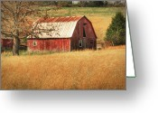 Tamyra Ayles Greeting Cards - Old Red Barn Greeting Card by Tamyra Ayles
