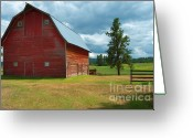 Big Sky Greeting Cards - Old Red Big Sky Barn  Greeting Card by Sandra Bronstein