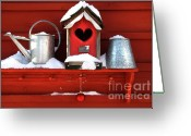 Old Wall Greeting Cards - Old red birdhouse Greeting Card by Sandra Cunningham