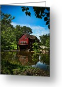 Water Scenes Greeting Cards - Old Red Grist Mill Greeting Card by Colleen Kammerer