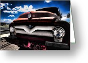 Antique Truck Greeting Cards - Old Red Pickup on Route 66 Greeting Card by Sven Brogren