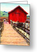 Red Building Greeting Cards - Old Red Shack Greeting Card by Wingsdomain Art and Photography