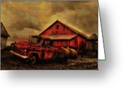 Antique Truck Greeting Cards - Old Red Truck and Barn Greeting Card by Bill Cannon