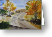Autumn Roads Greeting Cards - Old Road Greeting Card by Jamie Frier