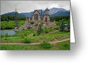 Colorado Mountain Greeting Cards Greeting Cards - Old Rock Church On A Cloudy Day Greeting Card by James Steele