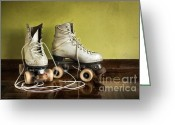 Boot Greeting Cards - Old Roller-Skates Greeting Card by Carlos Caetano