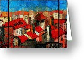 Vermillon Greeting Cards - Old roofs of Lyon Greeting Card by EMONA Art