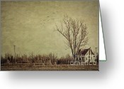 Farmhouse Greeting Cards - Old rural farmhouse with grunge feeling Greeting Card by Sandra Cunningham