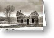 Log House Greeting Cards - Old Rustic Log Cabin in the Snow Greeting Card by Dustin K Ryan