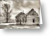Sepia Greeting Cards - Old Rustic Log House in the Snow Greeting Card by Dustin K Ryan