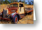 Wreck Greeting Cards - Old rusting flatbed truck Greeting Card by Garry Gay