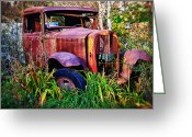Wreck Greeting Cards - Old rusting truck Greeting Card by Garry Gay