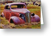 Ghost Town Greeting Cards - Old rusty car Bodie Ghost Town Greeting Card by Garry Gay