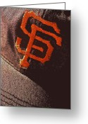 Sports Greeting Cards Greeting Cards - Old San Francisco Giants Cap 2 Greeting Card by Bill Owen
