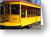 Old Street Photo Greeting Cards - Old San Jose Railroads Cablecar Trolley 143 . San Jose California . 7D12961 Greeting Card by Wingsdomain Art and Photography