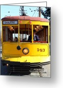 Old Street Photo Greeting Cards - Old San Jose Railroads Cablecar Trolley 143 . San Jose California . 7D12963 Greeting Card by Wingsdomain Art and Photography