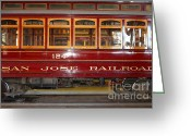 Old Street Photo Greeting Cards - Old San Jose Railroads Cablecar Trolley . San Jose California . 7D12949 Greeting Card by Wingsdomain Art and Photography