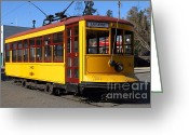 Old Street Photo Greeting Cards - Old San Jose Railroads Cablecar Trolley . San Jose California . 7D12957 Greeting Card by Wingsdomain Art and Photography