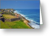 Caribbean Sea Greeting Cards - Old San Juan Coastline Greeting Card by Stephen Anderson