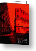 Puerto Rico Greeting Cards - Old San Juan in Red and Black Greeting Card by Ann Powell