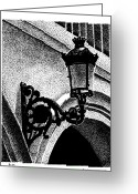 Puerto Rico Drawings Greeting Cards - Old San Juan Lamp Greeting Card by Angel Serrano