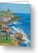 Puerto Rico Pastels Greeting Cards - Old San Juan seacoast in Puerto Rico Greeting Card by Dana Schmidt