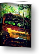 Transportation Mixed Media Greeting Cards - Old School Bus Greeting Card by Dana  Oliver