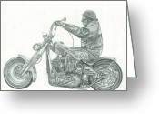 Chopper Greeting Cards - Old School Chopper Greeting Card by Francois Michaud