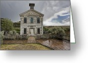 Pioneers Greeting Cards - Old School House After Storm - Bannack Montana Greeting Card by Daniel Hagerman