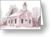 Schoolhouse Painting Greeting Cards - Old School house Greeting Card by Cindy Rae