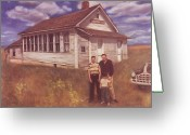 Schoolhouse Painting Greeting Cards - Old Schoolhouse Revisited Greeting Card by Suzn Smith